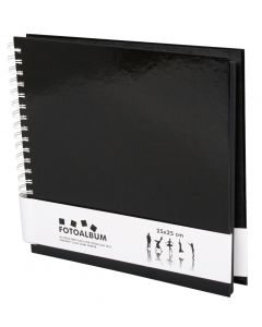 Neliönmuotoinen Spiraalifotoalbumi 25x25 Musta