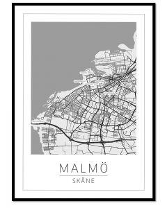 Poster 50x70 Malmö Karta (Planpackad)