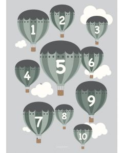 Poster 30x40 Balloons Grön