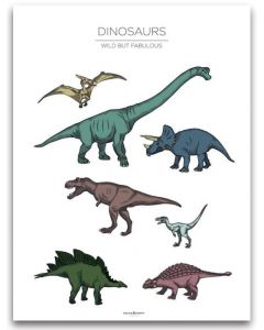Poster 40x50 Barnmotiv Dinosaurs White