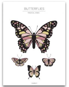 Poster 40x50 Barnmotiv Butterflies White
