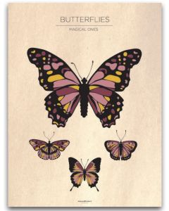 Poster 40x50 Barnmotiv Butterflies Vintage