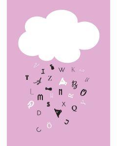Poster 30x40 Barnmotiv Moln Rosa (planpackad)