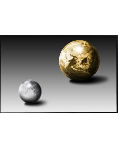 Poster 50x70 Gold Moon and Earth (planpackad)