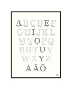 Poster 30x40 ABC Grön