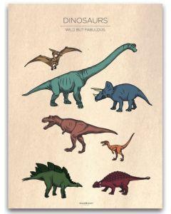 Poster 30x40 Barnmotiv Dinosaurs Vintage