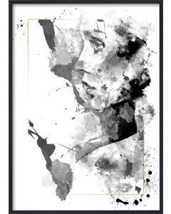 Poster 30x40 B&W Lady face (planpackad)